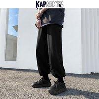 Pantalones para hombres Kapments Men Streetwear Swears Pierna ancha 2021 Hombres Harajuku Baggy Joggers Masculino Negro Causal Japón Moda Sudor