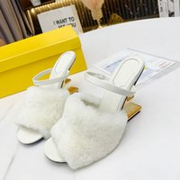 White F Sculpted high-heeled slippers Metallic high heels open toes slip-on slides Fur with leather outsole sandals for women luxury designer shoes factory footwear
