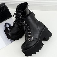 Boussac Lace Up Platform Boots Women Black Goth Ankle For Buckle Strap High Heel SWE0279