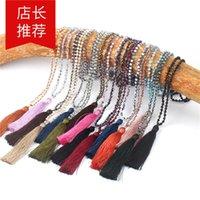 JLN Cam Kristal Mala Kolye El Yapımı Düğüm Faceted RoundLelle Kristal Uzun Püskül Budizm Meditasyon Kolye Kadınlar Için Hediye 651 Q2