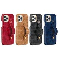 Caja de impresión de cocodrilo para iPhone 12 Mini 11 Pro Max XR XS Durable Robierno Sólido Pulsera Sólido Pulsera Cocodrilo Grano Cuero Atrás Funda Afile A prueba de golpes