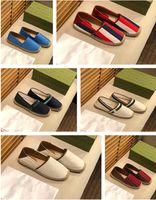 2021 Klasikler Loafer'lar Espadrilles Luxurys Tasarımcılar Ayakkabı Sneakers Tuval Ve Gerçek Koyun Derisi Iki Tonlu Hood-Toe Moda Erkek Ands Kadınlar Shoess Boyutu 35-45