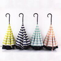 Creativo doppio strato pongee striscia in retromarcia ombrello dritto maniglia lunga ombrello c-tipo protezione solare ombrelloni NHE6762