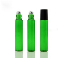 2021 10ml Empty Glass Roll On Bottle Blue Red Green Roller Container 1 3OZ for Essential Oil, Aromatherapy, Perfumes and Lip Balms