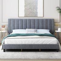 King-Bett Bettrame mit einstellbarem Kopfteil, Schlafzimmermöbel, Betten, gepolsterter Plattform, Bettgestell, Matratzenfundament, Hölzerne Lamellen