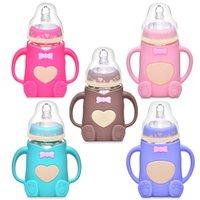 240ml 아기 실리콘 우유 병 먹이 병 Mamadeira Vidro BPA 무료 안전 유아 주스 물 먹이 병 컵 유리 간호 762 S2