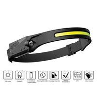 Induction Riding Headlamp 350LM COB LED 1200mAh USB Rechargeable Hunting Headlight 4 Modes Warning Work Light Bike Lights