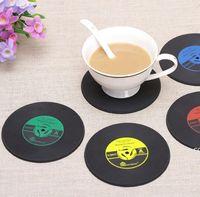 4 ألوان الإبداعية cd كأس حصيرة الرجعية الفينيل الوقايات غير زلة خمر سجل الكؤوس وسادة شريط المنزل الجدول ديكور القهوة الحصير dha7046