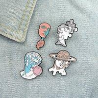 4 스타일 조각 에나멜 핀 사용자 정의 재미 아트 브로치 가방 옷 옷깃 핀 레이블 배지 친구 ZDL0327에 대 한 만화 보석 선물입니다.