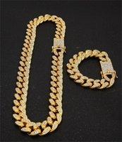 13mm Miami Cuban Link Chych Gold Серебряное Ожерелье Браслет Набор Crystal Rhinestone Bling Hip Hop для мужчин 88 U2