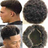 남자 머리 가발 망 머리카락 아프리카 컬 전체 레이스 toupee 갈색 검은 색 # 1B 유럽 레미 인간의 머리카락 교체 흑인 남성