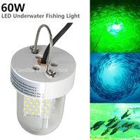 12V 60W queda profunda debaixo d'água subaquática levou isca de luz de pesca ao ar livre verde / branco / amarelo / azul lâmpada de localizador de peixes