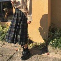 Vintage Wolle Plissee Plaid Rock Frauen Hohe Taille Plus Größe Langer Rock Herbst Winter Harajuku Weibliche Party Rock Streetwear 210329