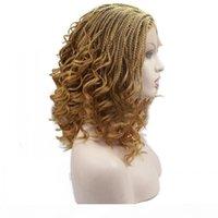 16 inç Mikro Dantel Ön Örgü Peruk Kadınlar Için Kısa Örgülü Sarışın Siyah Peruk Isıya Dayanıklı Sentetik Saç