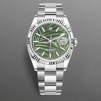 2021 New Watch 41mm Green Leaf Stripe PRINT DIAL DATEJUST SAPPHIRE CRISTAL DE ACERO INOXIDABLE AUTOMÁTICO RELAJADO MECÁNICO
