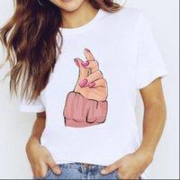 Spring Autumn Cute Clothes Womens T Shirts Fingernail Nail Art Clothing Print Graphic Shirt Female Tee