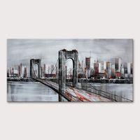 Peintures Mintura Picture murale pour salle de séjour Huile sur toile peinte à la main de la rivière urbaine pont el décor art non encadré