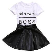 Designer Fashion children's clothing designer 2018 Fashion Toddler Kids Girl Clothes Set Summer Short Sleeve Mini Boss T-shirt Tops + Leath