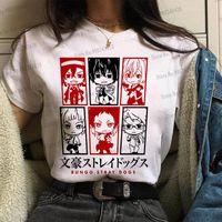 Fashion Anime Women Tops Bungo Extrañamiento Perros Camiseta Handsome Osamu Dazai Nakahara Chuya Tees Japonés Dibujos animados Gráfico Señora