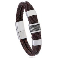 Tennis Braided Twist Bracelets Stainless Steel Magnetic Buckle Vintage PU Leather Rope Bangles Male Wristband Accessories Jewelry