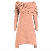 FeiTong Casual T-shirt Women Plus Size Fashion Solid Ruched Long Foldover Collar Tunic Top shirt Autumn Women T-shirts Basic tee