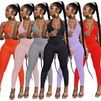 Women Jumpsuits Rompers summer fall clothes jogger sleeveless sexy club deep-v neck backless halter solid leggings full-length pants running cycling yoga wear 01674