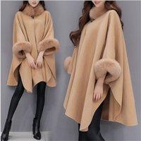 여성용 망토 망토 목 디자인 겨울 의류 겉옷 탑스 느슨한 패션 코트 망토 여성용 양모 블렌드 코트 여성 겨울 재킷