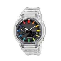 Venta caliente Nuevo GA2100 LED Reloj digital Hombres Causal Deporte Reloj de pulsera Doble pantalla Traiga transparente Todos los punteros están funcionando