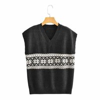 Women's Sweaters Evfer 2021 Women Fashion Jacquard Print Balck Sleeveless Knitted Pullover Vest Ladies Casual V-neck Sweater Girls Jumpers C
