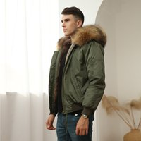 Men coats snow parkas Meifeng brand brown raccoon furs trim hoody and rabbit fur lining army green bomber nylon jacket