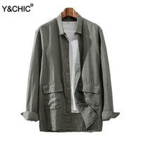 Y&CHIC Men' s Relaxed Fit Long Sleeve 100% Linen Shirt W...