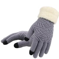 Fingerless Gloves 100pair lot Knitted Touch Screen Women Thicken Winter Warm Female Full Finger Soft Stretch Knit Mittens Guantes
