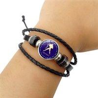 Vintage Zodiac Smycken med 12 Constellation Zodiac Sign Armband Äkta Leader Charm Armband Bangle för Unisex Gift