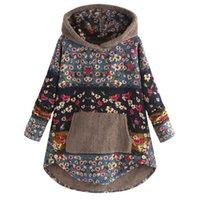 Women's Jackets Women Sweatshirt Jacket Fleece Patchwork Floral Print Long Sleeve Pockets Plus Size Hoodie Top Sudaderas Con Capucha #8