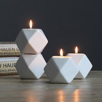 4 Colors Ceramics Candle Holder Molds Multilateral Geometric Ceramics Candlestick Home Crafts Decorations Candle Holder Molds
