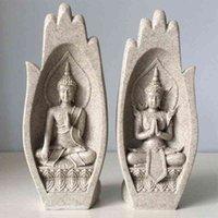 2 stücke Hände Skulpturen Buddha Statue Mönch Figur Tathagata Indien Modern Yoga Nordic Wohnkultur Büro Dekoration Zubehör 210329