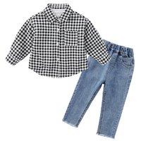 아기 소년과 소녀 옷 캐주얼 셔츠 + 데님 바지 2 조각 0-7 세 어린이 의류 클래식 격자 무늬 양복