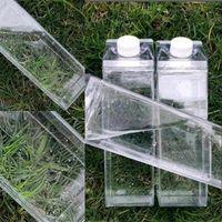 우유 카톤 물병 500ml 투명한 광장 고용량 컵 플라스틱 커피 음료 찻잔 독창성 5 8JS F2