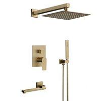 """Conjuntos de ducha de baño Set Cepillado oro cuadrado lluvia grifo pared de pared o mezclador montado en el techo 8-12 """"cabeza 047t"""