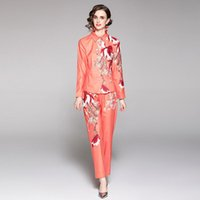Women's Two Piece Pants Spring Fashion Runway Suit For Women Elegant Long Sleeve Floral Print Shirt And 2 Matching Set Office Outfits N68995
