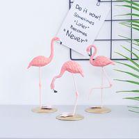 Nordic Ins Flamingo Adornos De Flamenco Animal Estatuas De Arte De Arte Crafts Estación De Escritorio Resina Estatuilla Decoración Objetos Regalos