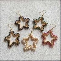 Dangle Earrings Jewelrydangle & Chandelier Fuwo Pentagram Freshwater Pearls Earrings,Fashion Gold Tone Brass Crystal Beads Winded Earring Je