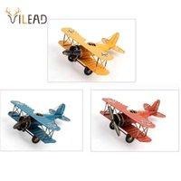 Vilead 21cm 철 비행기 인형 레트로 금속 비행기 모델 빈티지 홈 장식 액세서리 아이들을위한 항공기 선물 장식