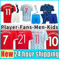 21 22 Varane Sancho Shaw Manchesters Futebol Jerseys Fãs Unidos Versão do Jogador Homem Ronaldos Fernandes Utd Rashford Camisa de Futebol 2021 2022 Men + Kids Conjunto completo Kit Sock
