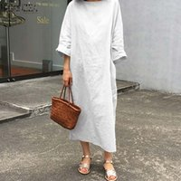 Elegant Women O Neck Long Sleeve Sundress Casual Cotton Linen Dress Spring Vestidos Kaftan Plus Size Solid Party Dresses