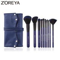 Zoreya 브랜드 블루 Cruelty 무료 작은 팬 메이크업 브러쉬 부드러운 합성 블러시 아이 섀도우 컨실러 각도 이마를 구성하는 도구 10 개 브러쉬