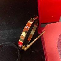Pulseiras de aço de titânio Pulseiras para casal Diamante tamanho dourado 16-21 Designer clássico de prata