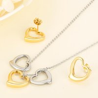 Earrings & Necklace European And American Titanium Steel Heart-shaped Show The Heart Of Women Jewelry Set