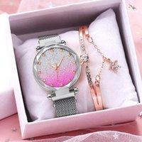 Wristwatches Women Magnet Buckle Square Diamond Wrist Watches Luxury Silver Gradient Quartz Gift Clock Relogio Feminino
