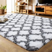 Carpets Plush Fluffy Carpet Mordern Geometric Print Luxury Large Indoor Shaggy Area Rugs For Bedroom Living Room Soft Decor Home